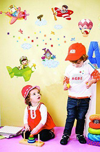 Luxury ufengke Kinder Piloten Flugzeuge und Luftschiffe DIY Wandsticker Kinderzimmer Babyzimmer Entfernbare Wandtattoos Wandbilder ufengke