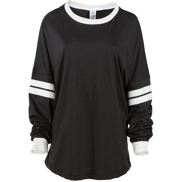 Venley Black & White Football Tee ($27) ❤ liked on Polyvore featuring tops, t-shirts, shirts, sweaters, shirt tops, black and white t shirt, tee-shirt, black white top and cotton shirts