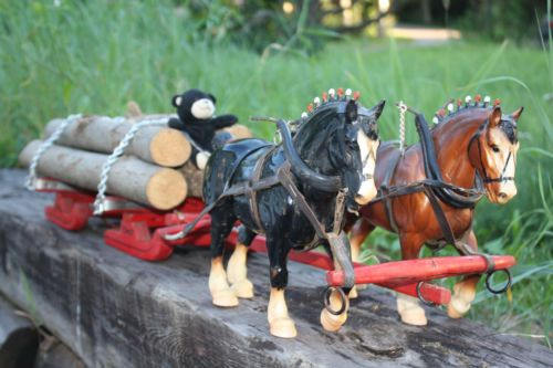 breyer clydesdale team work horses folk art logging sleigh