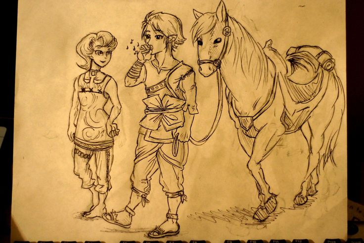 Here's a dumb doodle I did for my dad for Fathers' Day. The LoZ series, Twilight Princess in particular, has very special meaning to he and I.  Drawn in ballpoint pen.
