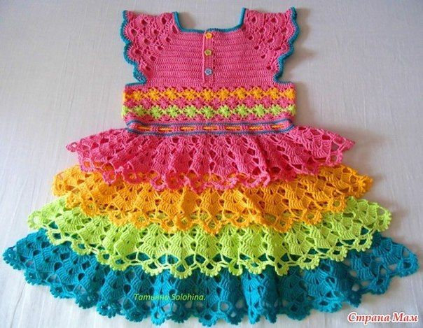 Crochet Rainbow Ruffles Dress with Free Pattern