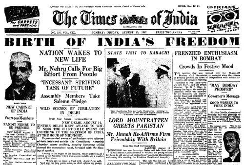 Front page of The Times of India on 15 August 1947, carrying news reports on the first Independence Day.