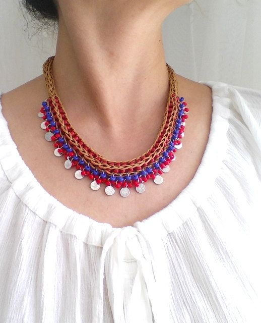 bohemian necklacestatementboho jewellerybeaded by HANDMADETHIS