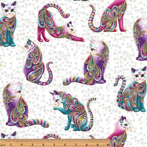 Benartex - Cat-I-tude 4201M-09 ARTIST-O-CATS WHITE-MULTI