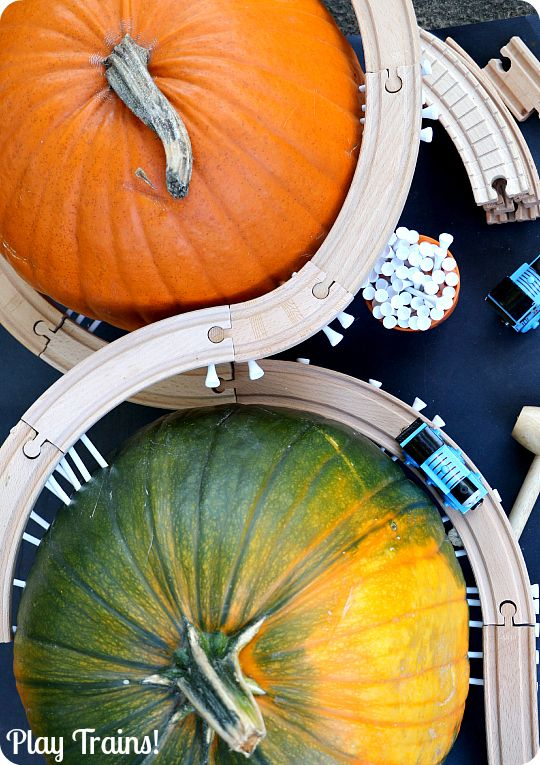 Pumpkin Mountain Railroad Building: a Halloween engineering activity for kids who love trains from Play Trains!