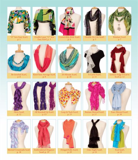 DIY scarf! Let Nancy Zieman show you how to make 20 easy-to-sew scarves, each with a unique sewing technique and a personality all its own.