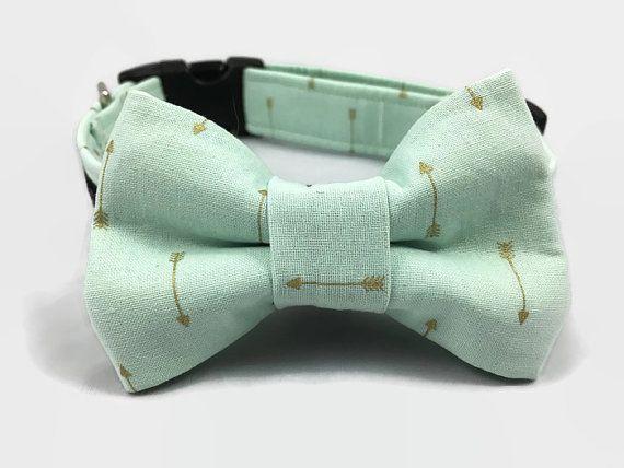 Mint groene hond kraag strikje instellen pijl door CollarMeCharming