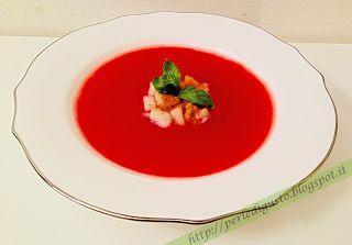 Crema fredda di #anguria con #insalata di pere coscia profumate alla #cannella