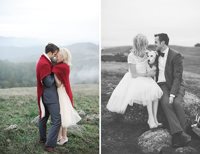 Santa Cruz Mountain Engagement Photos - we are obsessed with the black and white photo on the right! #socute