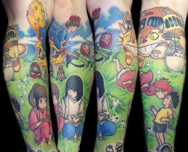 Miyazaki tattoo by Steve Sklepic with Jennifer Shepherd at Kamakazi Ink