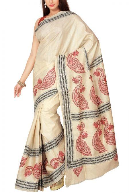Pearl White & Red Kantha Tussar Silk Saree