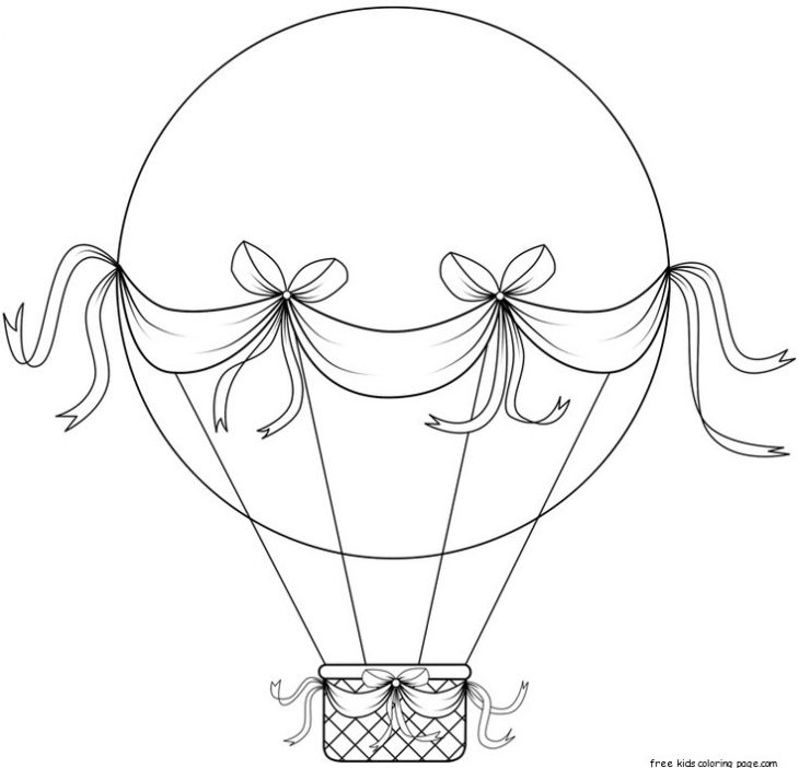 A Very Big Hot Air Balloon With Lovely Ribbon Coloring Page For The