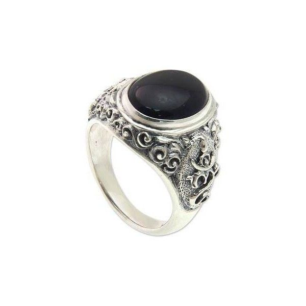 NOVICA Handcrafted Onyx and Sterling Silver Om Ring for Men (185 BRL) ❤ liked on Polyvore featuring men's fashion, men's jewelry, men's rings, clothing & accessories, jewelry, onyx, rings, single stone, mens watches jewelry and mens sterling silver rings