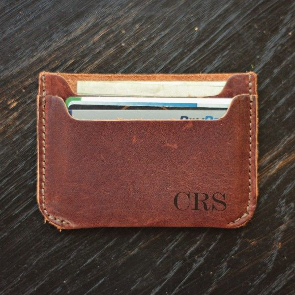 Personalized Front Pocket Leather Wallet - Vintage Look