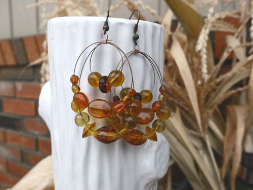 Beaded Earrings - Amber coloured Loop All proceeds go to safe homes against human trafficking in the Dominican Republic.