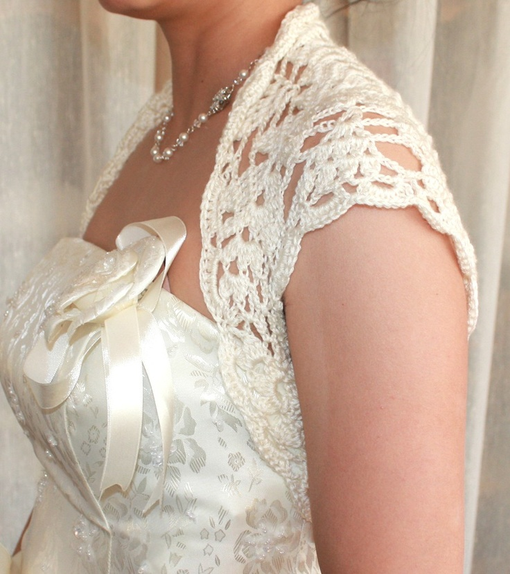 Luxurious Bridal Silk / Cashmere Shrug hand knit  /crochet wedding bolero Ivory Cream - made to order. $59.50, via Etsy.