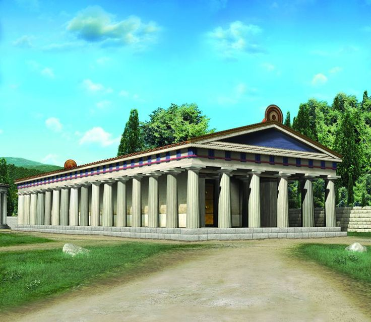 The facade of the archaic Temple of Hera,  Ancient Olympia.  This is a digital reconstruction.