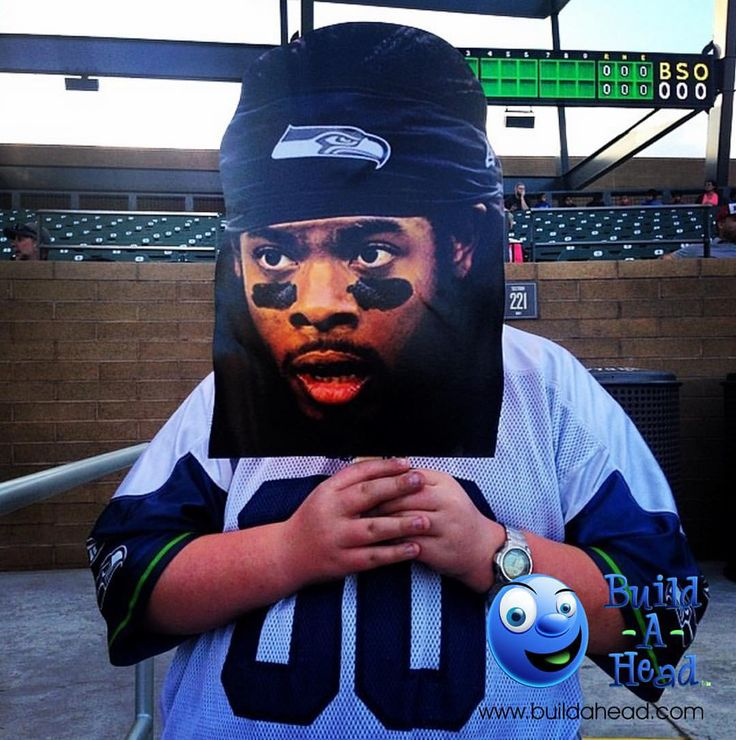 Make your own big head cutouts like this Richard Sherman stunned face on a stick at BuildAHead.com. Perfect to cheer on your football team or have for fun photos at NFL Super Bowl  parties.