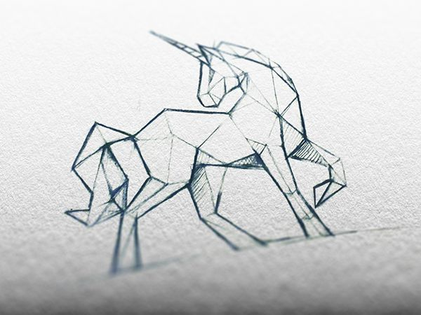 Image result for origami unicorn drawing