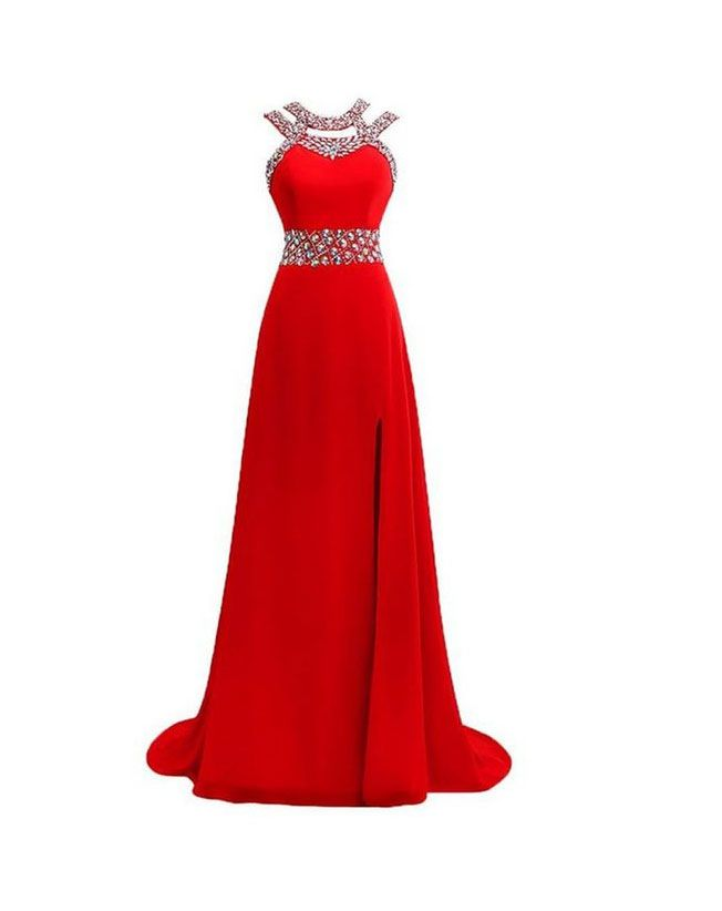 Largos Beaded Evening Dresses,Chiffon Formal Evening Dresses,With Slit Evening Dresses,Red Long Evening Dresses