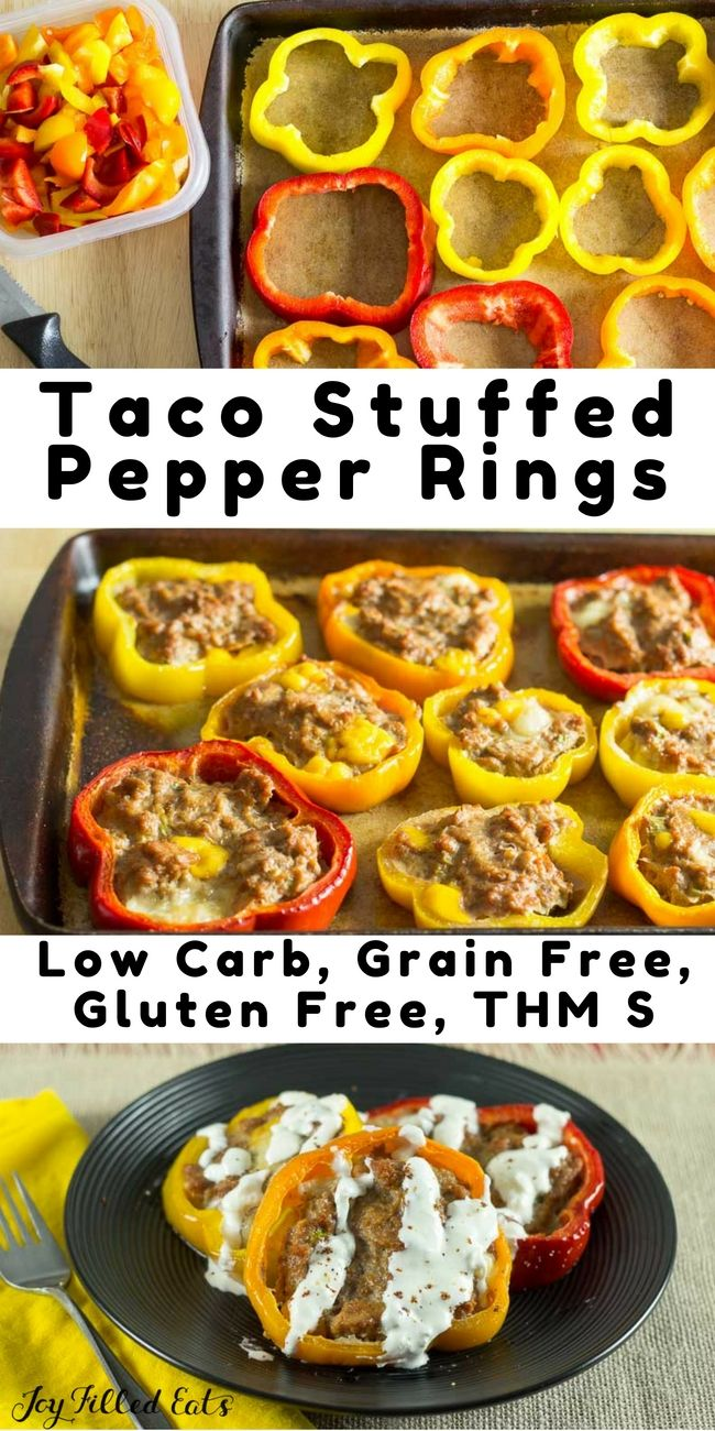 Taco Stuffed Pepper Rings are great! Dinner bakes on one baking sheet and they cook faster than big stuffed peppers or meatloaf. Low Carb, Grain Free, THM S via @joyfilledeats