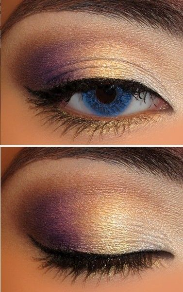 Eye #makeup for solo - white in inner eye, gold in the center, purple on the outside, brown in the crease.