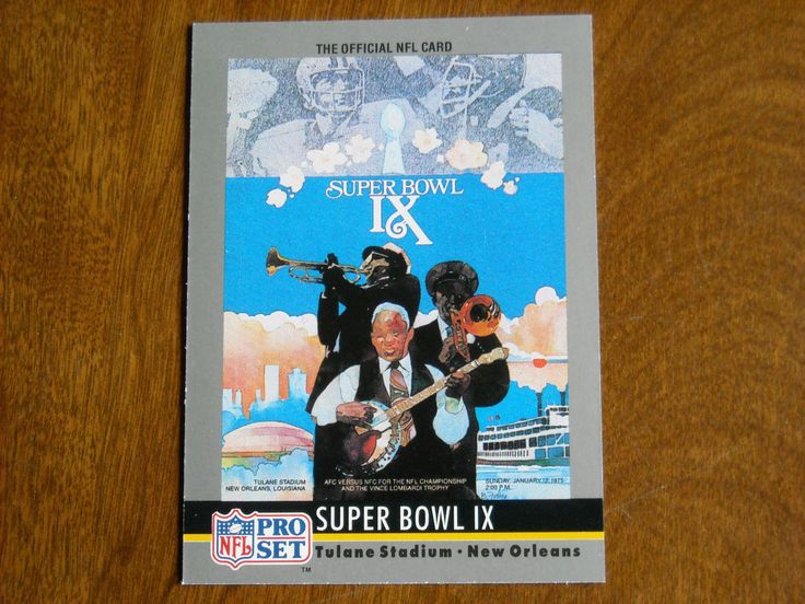 Super Bowl IX January 1975 Steelers vs. Vikings Card No. 9 (FB9) 1990 Pro Set Football Card - for sale at Wenzel Thrifty Nickel ecrater store