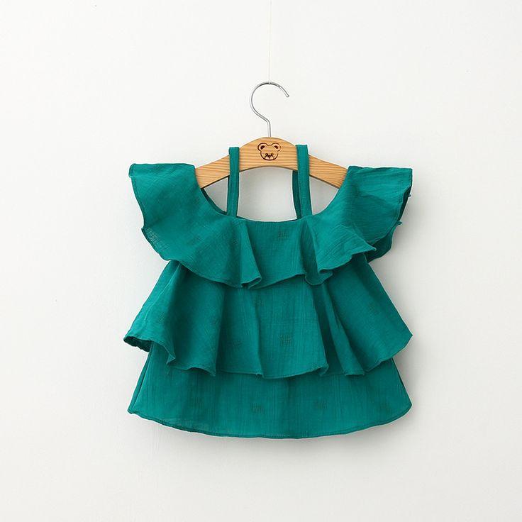 Muchachas de los niños Tapas de La Blusa Verde Blanco Pastel de Doble Capa Con…