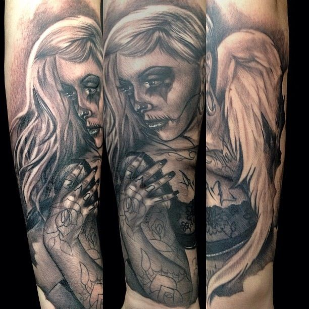Angel skull girl tattoo by Big Gus. | Amazing Artist Big ...