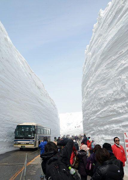 富山県と長野県を結ぶ北アルプスの「立山黒部アルペンルート」が16日、除雪作業を終え全線開通した。標高2450メートルの最高地点・室堂近くの道路沿いには「雪の大谷」と呼ばれる高さ約15メートルの雪の壁がそびえ立ち、観光客らは歓声を上げながら写真を撮っていた。写真は立山黒部アルペンルートの「雪の大谷」(富山県立山町)(2014年04月16日) 【時事通信社】  ▼16Apr2014時事通信 プレミアム写真館 最新 アルペンルート開通 http://www.jiji.com/jc/pp?d=pp_2014p=latest-jpp017043778 #Tateyama_Kurobe_Alpine_Route #yuki_no_otani