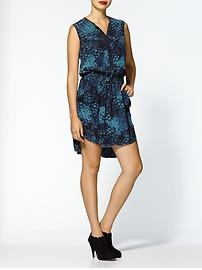 Rebecca Taylor Ombre Feathers Print Henley Dress
