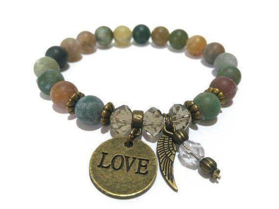 Love Crystal Healing Bracelet Gemstone Bracelet by LotusandStone