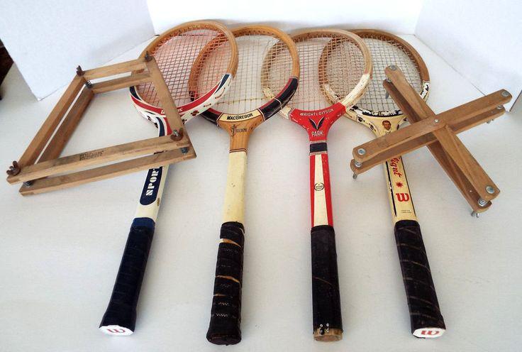 4 Old Wood Tennis Rackets 2 Presses Wilson Wright Ditson Spaulding MacGregor  #WilsonWrightDitsonMacGregorSpaulding