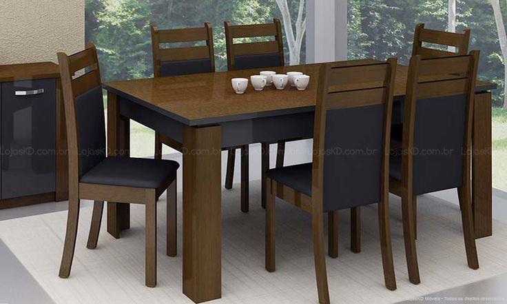 Sala De Jantar Retangular ~ Conjunto para Sala de jantar com Mesa Retangular de Madeira e 6