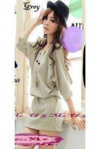 Grosir mini dress korea beige murah KK204