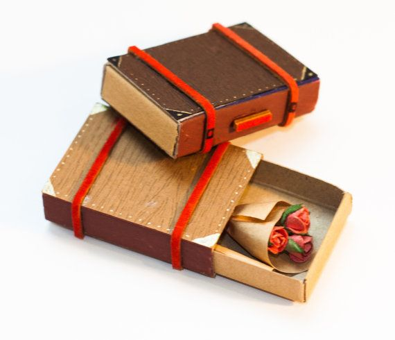 Tiny Love Card/ Anniversary Gift/ Miniature Suitcase with Bouquet of Roses Matchbox/ Dark Brown Wood