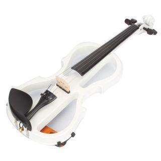 V-002 4/4 White Electric Violin & Rosin & Bow & Case & Headphone & Shoulder Drag & Line