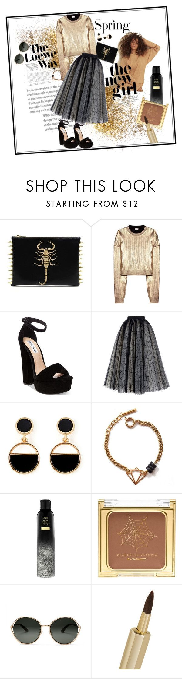 """Gold brass"" by britt-catlynne-weatherall ❤ liked on Polyvore featuring H&M, Yves Saint Laurent, Steve Madden, Philosophy di Lorenzo Serafini, Warehouse, Tilly Doro, Loewe, MAC Cosmetics, TOMS and By Terry"