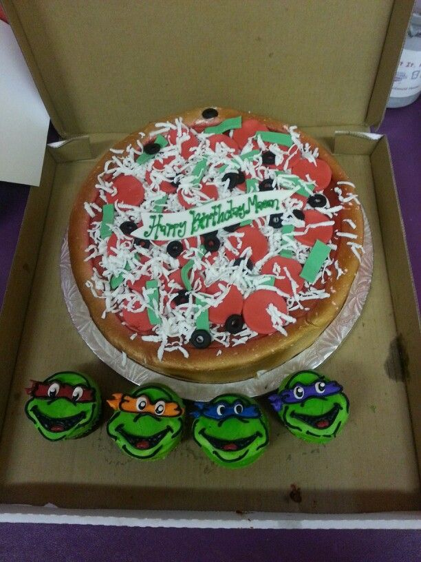 Ninja Turtles Cake Pizza With Cupcakes Party Ideas