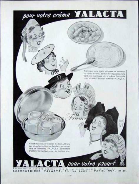 French Vintage Ad  Yalacta Yogurt 1951 by reveriefrance on Etsy