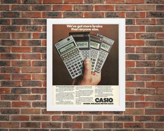 Geeky Wall Art | 80s Tech Advertisement | Casio Scientific Calculators | Programmable Technology Ad | Math Wall Decor | Math Teacher Gift by RetroPapers