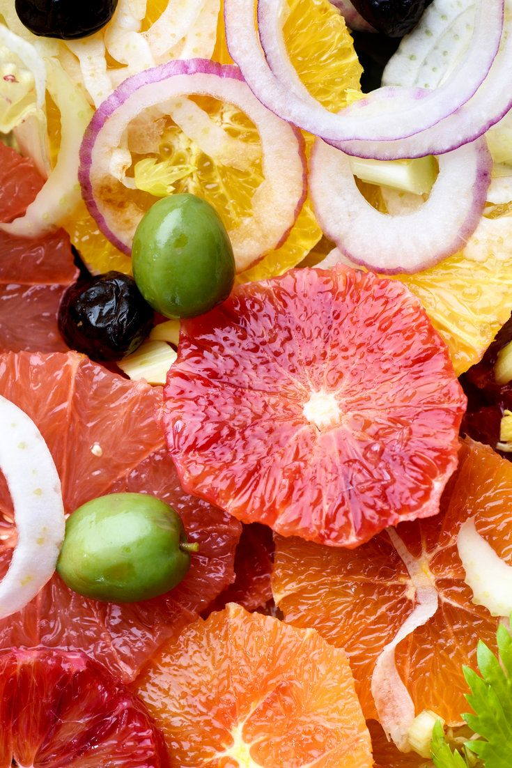 Winter is the season when many kinds of citrus fruits suddenly appear. For this savory fruit salad, a mixture of navel, blood and Cara Cara oranges and a small grapefruit make a colorful display. (Photo: Karsten Moran for The New York Times)