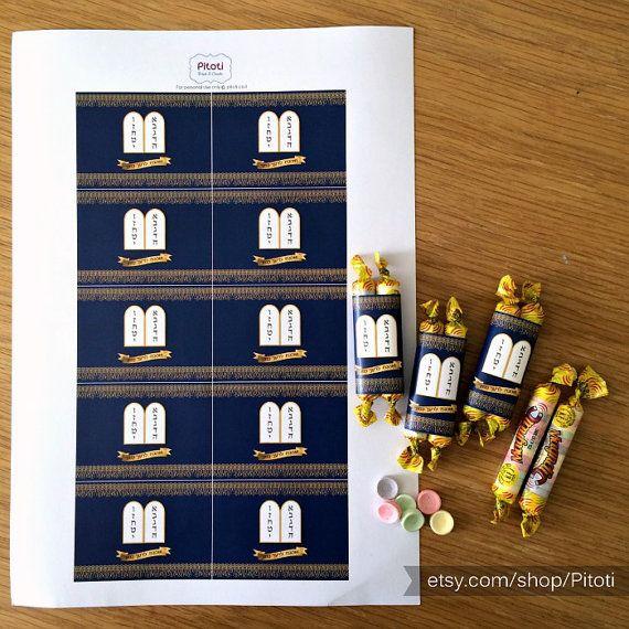 Torah candy wrappers, Printable sefer torah candy wrapper {Blue}, Torah Favor, Bat Mitzvah Favors, Bar Mitzvah Favors, digital download.