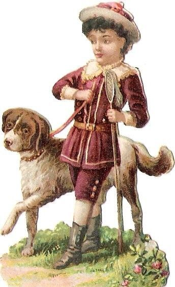 Oblaten Glanzbild scrap die cut chromo Kind child Hund dog chien enfant
