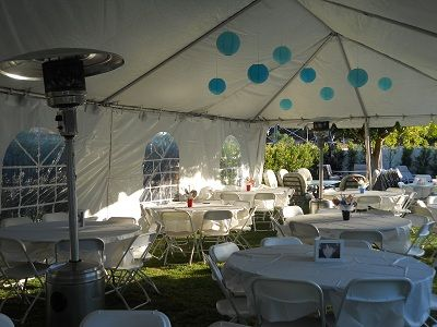 20 x 40 wedding tent table layont  20 X 40 Tent decorated with patio heater  parties