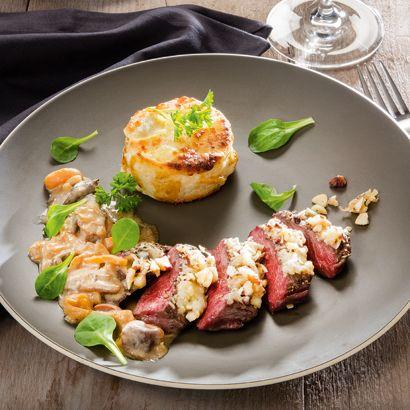 ALDI Belgique - Recette - Steak de cerf, abricots séchés et noix, gratin dauphinois