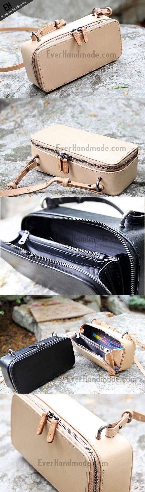 Handmade black phone purse leather crossbody bag purse shoulder bag for