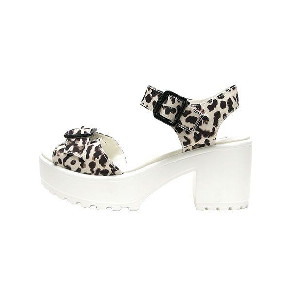 HOZKOREA Women's Olivia Leopard Ivory Sandal #HOZKorea #Sandal #Casual