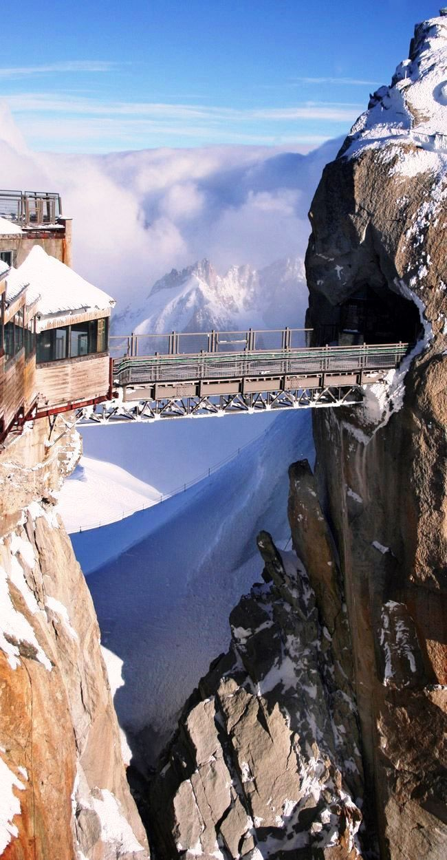 Home ❤ Chamonix-Mont-Blanc ~ French Alps | Travel Planning | Aiguille du Midi Bridge, France | Places we love