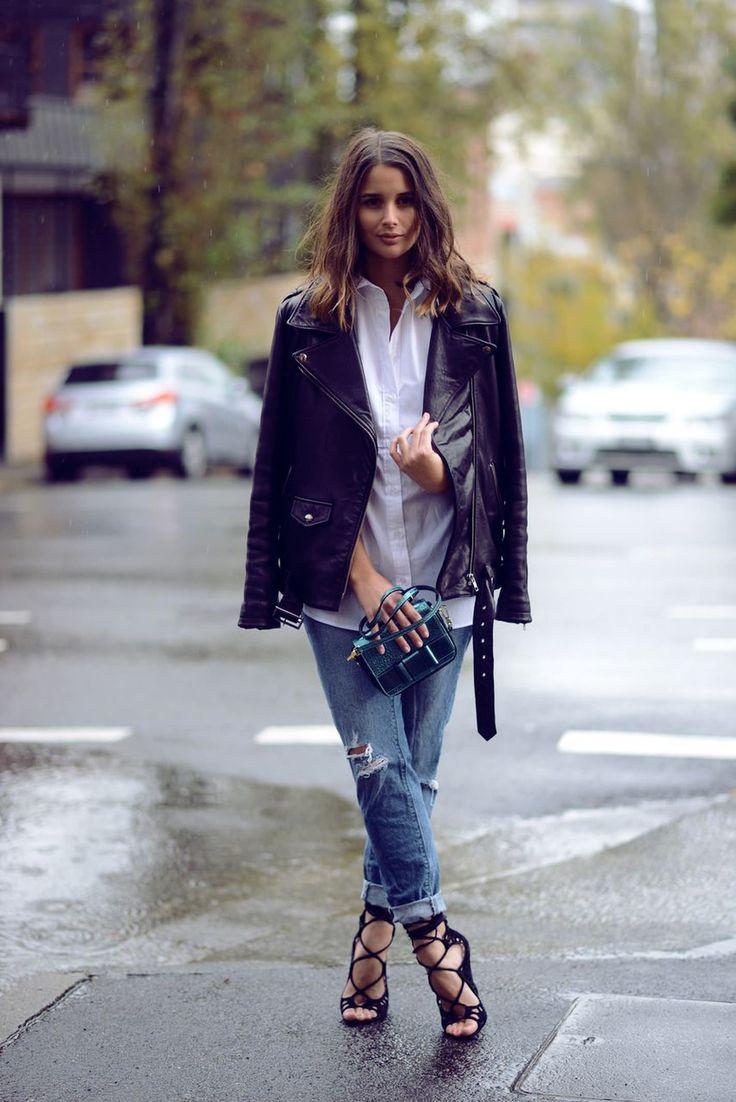Denim, white shirt, leather jacket.